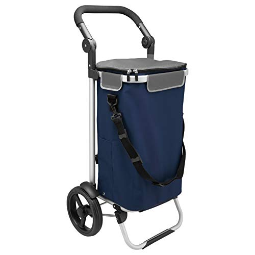 bremermann Einkaufstrolley JEEBEL, Handwagen, Einkaufswagen mit Abnehmbarer Tasche, Verstellbarer Griff (Blau)