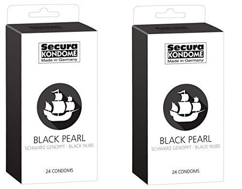 Kondom - Mit diesen schwarzen Kondomen überraschen Sie Ihren Schatz mit der Optik und der Stimulation durch die Reiznoppen (48 Condome) Schwarz mit Noppen