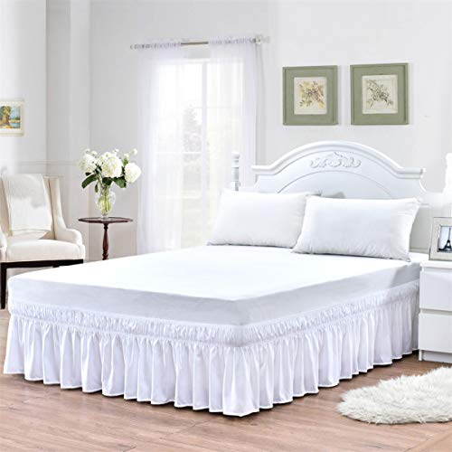 TSUTOMI White Bed Skirts King Queen Size Elastic Wrap Around Bed Skirts Dust Ruffle with Bed Skirt Pins,18 Inch Drop