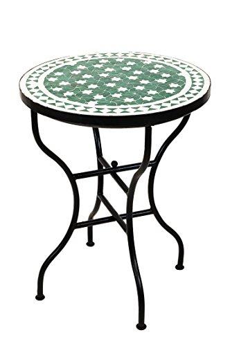 ORIGINAL Marokkanischer Mosaiktisch Bistrotisch ø 60cm Groß rund klappbar | Runder Kleiner Mosaik Gartentisch Mediterran | als Klapptisch für Balkon oder Garten | Estrella Grün Weiß 60cm
