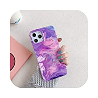 For iPhone12用の新しいレインボーレーザー大理石の電話ケース11Pro Max XR XS Max 7 8 Plus X ラグジュアリーグラデーションソフトシリコンバックカバー-Laser Purple Pink-For iPhone11 Pro Max