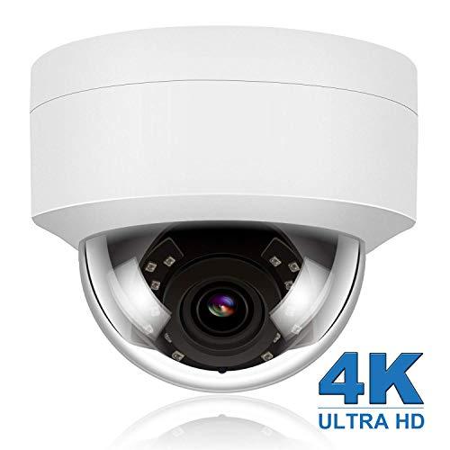 Cámara IP PoE de Seguridad HD 4K/8MP (3840x2160P) al Aire Libre visión Nocturna, Ranura para Tarjeta SD cámara IP PoE Impermeable detección de Movimiento, Compatible con Hikvision Onvif