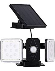 Utomhus, Jorft 94 LED dubbla huvuden solcellslampa vägglampa med rörelsedetektor 20 timmar solbelysning vattentät solcellsbelysning säkerhet för trädgård, garage, ytterdörr med 10 m kabel