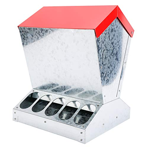 Finderomend Automatic Chicken Feeder Poultry No-Waste Feeder for up to 10 Chickens, Keeps Dry with Spill Proof, 25 LB