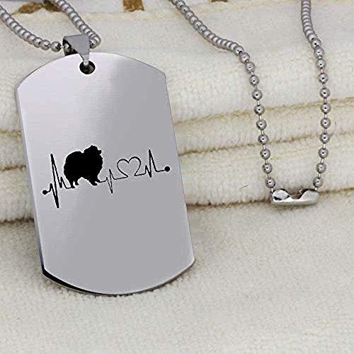 ZGYFJCH Co.,ltd Collar Perro Latido del corazón Colgante Collar Moda Grabado joyería de Acero Inoxidable Collar Original