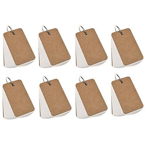 Homo Trends 8 x 400 Stück Revisionskarten, 8,9 x 5,6 cm, blanko, weißes Kraftpapier, Ringbuch, Notizbuch, Lernkarten