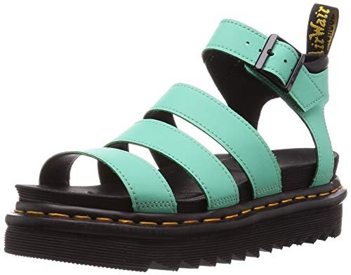 Dr. Martens Women's Gladiator with Buckle Strap Sandal, Peppermint Green Hydro Leather, 9