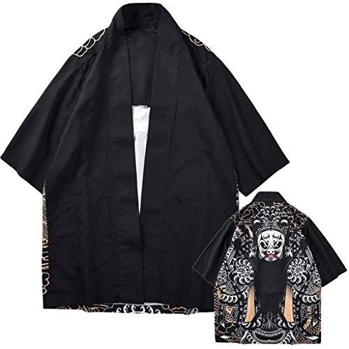 Lazzboy Uomo Unisex Lovers Character Stampa Top Camicetta Kimono Hot Spring Spa Cover-up Beach Shrug(S,Nero-Opera di Pechino)