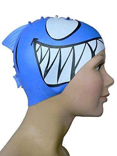 Diapolo Professionale Schwimmkappe Shark Royal Blue Silikon Badekappe Bademütze Schwimmmütze für Damen und Herren und Mädchen und Jungen