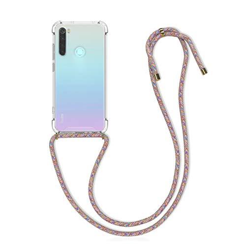 kwmobile Funda con Cuerda Compatible con Xiaomi Redmi Note 8 - Carcasa Transparente de TPU con Cuerda para Colgar en el Cuello
