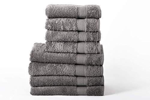 Sevval Handtuch und Badetuch Set | 4X Handtücher und 4X Badetücher | 50x100 und 70x140 cm | 100% Weiche Baumwolle Frottee | großes und klein Duschtuch | Schnelltrocknend | Anthrazit Grau