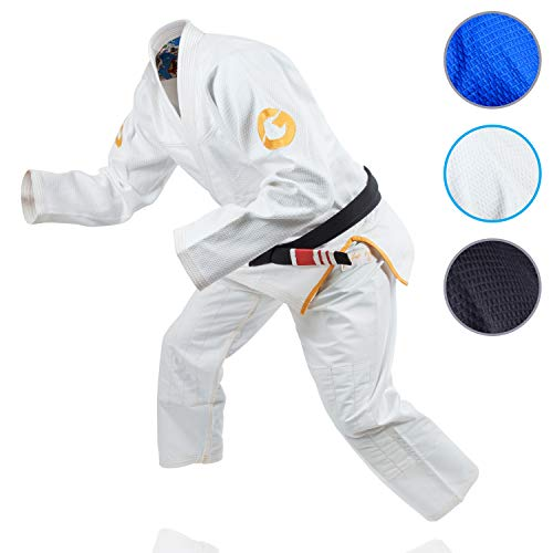 Gold BJJ Jiu Jitsu Gi - Ultra Strong Gold Weave Premium Kimono - IBJJF Competition Approved Uniform (White, A1)