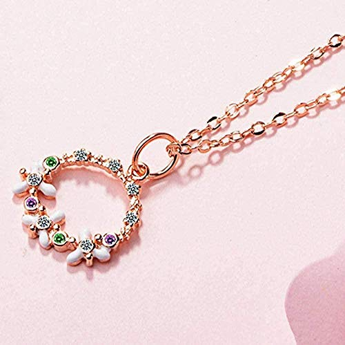 quanjiafu Necklace Round Garland Necklace Sweet Zircon Necklace for Women Girl Gift Necklace