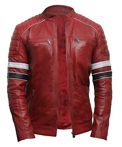 LP-FACON Cafe Racer Veste de moto matelassée en cuir pour homme Style rétro Noir Marron - Rouge - L