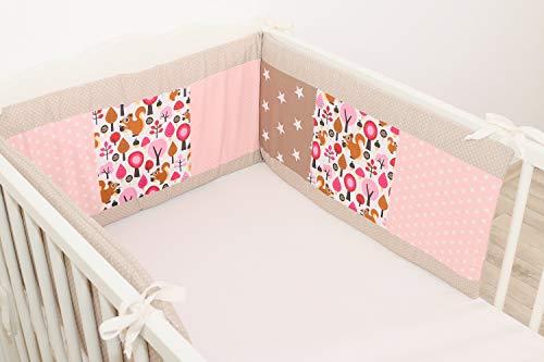 ULLENBOOM ® baby bedomrander l 180 x 30 cm l stootrand voor ledikantjes, hoofdbeschermer ledikant in de maat 120 x 60 cm I zand eekhoorntjes