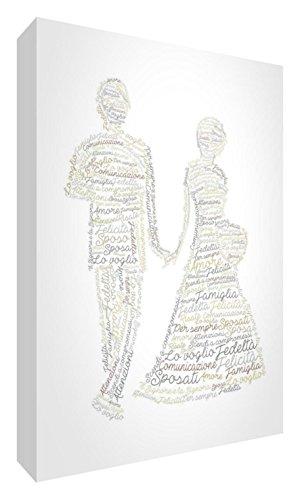 Feel Good Art WEDDINGA6BLK-01IT Token Décoration de mariage en acrylique, ponçage à diamant avec design moderne, typographique, beige, 10,5 x 14,8 x 2 cm