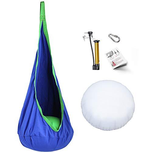 Eggdel niños Pod Swing silla plegable para colgar hamaca asiento interior y al aire libre (Azul)