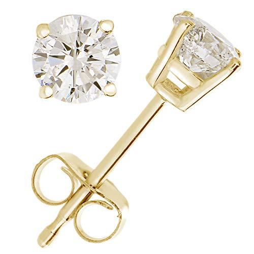 1/4 cttw Diamond Stud Earrings 14K Yellow Gold 4 Prong Basket Set With Push Backs