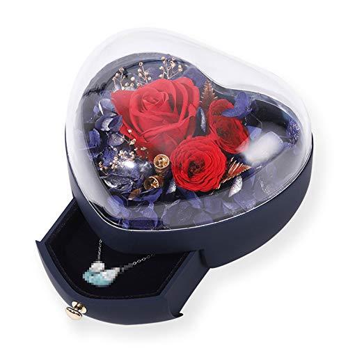 TWW Caja De Flores Preservadas En Forma De Corazón Caja De Regalo De Vaso Creativo para Boda Caja De Joyería Caja De Regalo De San Valentín Regalos para Amantes,Negro