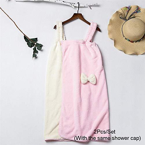Xiaobing 2pcs / Set señoras Honda Toalla de baño Secado rápido Lindo Bowknot Viaje Pelo seco Diadema -A6-Set