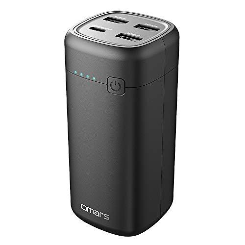 Powerbank Omars Kleine Externe Batterie 20000mAh USB C PD 45W Schnellladung für Laptop/Smartphone, 1 Typ C Ausgang/Eingang und 3 USB A Ausgang, Gesamtleistung 60W für MacBook iPhone iPad Samsung Sony