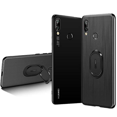 ROMANTIQUE Funda para Huawei Nova 3 Case Gel TPU Suave Anti Deslizamiento Case con Selfie Soporte (Gris)