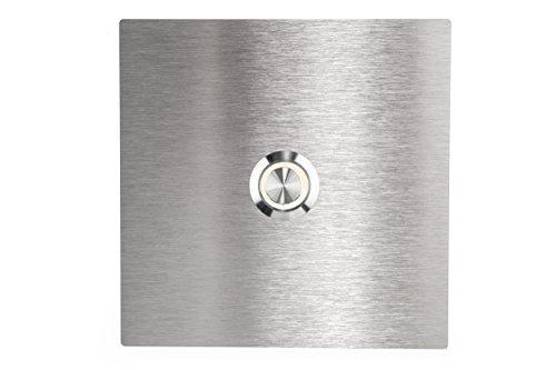 HUBER LED Klingeltaster 12816, 1-fach unterputz, quadratisch, Edelstahl 80mm x 80mm x 3mm, LED Lichtfarbe warm weiß