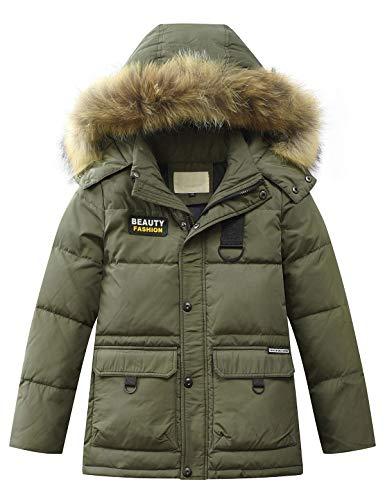 Echinodon Jungen Daunenjacke mit Abnehmbarer Fellkapuze Kinder Winter Jacke Winterjacke Kapuzenjacke Parka Armeegrün 140