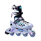 通用 Chaussures de Skate Professionnelles Adultes PU Flash Wheel Speed ​​Inline Skates Shoes Adult Men & Women Lady Roller Skates Teens Sneakers M (37-40) Purple