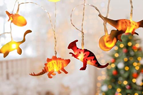 Lichterkette Kinderzimmer Junge mit Schalter – 4 Meter LED Nachtlicht Dino Deko Kindergeburtstag, Dino Figuren Lampe, kleine Dinosaurier Figur Set - Party Licht Vorhang Dinos Strom betrieben