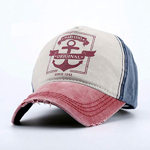 CGXBZA Frauen Männer Anker Gedruckt Retro Cap Maritime Original Caps Baumwolle Baseball-Hüte Mit