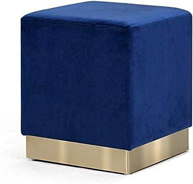 DEPLK Tabouret Ottoman en Velours de Repose-Pieds Simple de Mode, Bleu avec Le Fond d'or, Tabouret de Pied de siège Tabou