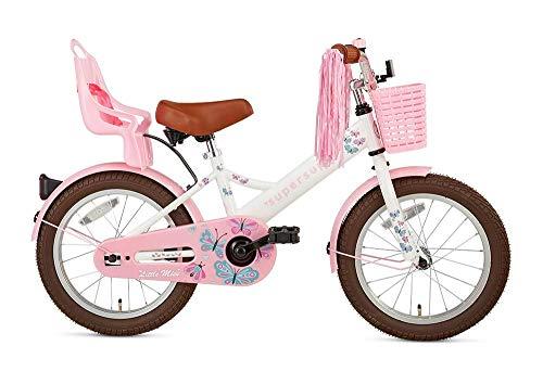 POPAL SuperSuper Little Miss Kinder Fahrrad für Kinder | Fahrrad Mädchen 16 Zoll ab 4-6 Jahre| Kinderrad met Stützrädern | Rad mit Korb und Puppensitz |Weiß