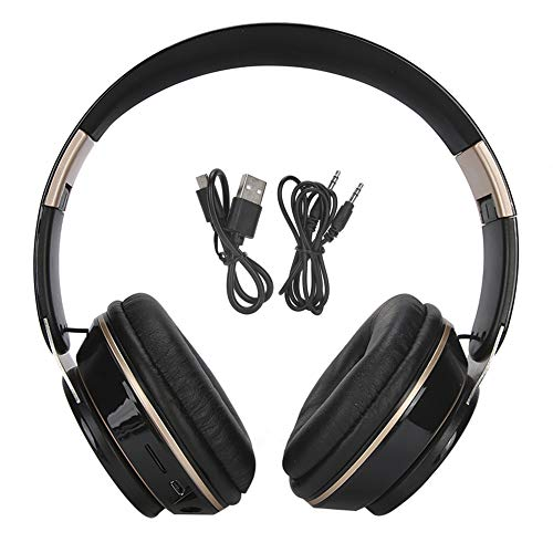 Dilwe1 Over Ear Headphones, Bluetooth 5.0 Earpiece Wireless Stereo Headset with Microphone, Gaming Headsets with 3.5 mm Wired for Travel/Home/Office(黑色)