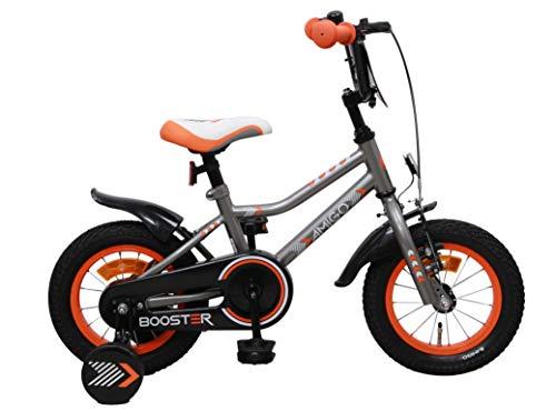 Amigo Booster - Kinderfahrrad für Jungen - 12 Zoll - mit Handbremse, Rücktritt, Lenkerschutz und Stützräder - ab 3-4 Jahre - Grau