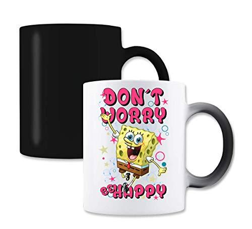 Spongebob Don't Worry Be Happy Funny Letters Graphic Magische Farbe die Tee-Kaffeetasse ändert