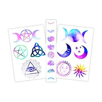 Fashiontats Witchy Celestial Temporary Tattoos   Witch-Inspired   Skin Safe   Made in The USA  Removable