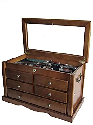 Collector's Choice Knife Display Case Cabinet, Tool Storage Cabinet, Solid Wood, Gallery Quality (Walnut Finish) by Display Gifts Inc.
