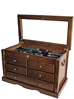 Collector`s Choice Knife Display Case Cabinet, Tool Storage Cabinet, Solid Wood, Gallery Quality (Walnut Finish)