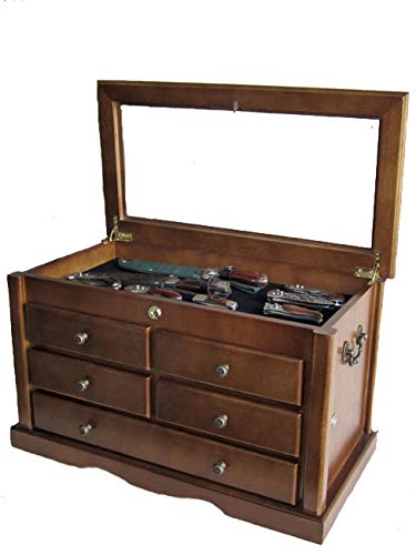 Collector's Choice Knife Display Case Cabinet, Tool Storage Cabinet, Solid Wood, Gallery Quality...