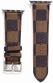 HeiL 38/40 Compatible Apple Watch Straps 38mm (fit for 40mm), Luxury Fashion PU Leather Classic Wrist Bands for Women and Men, Replacement for Apple Watch Series 5 4 3 2 1 38/40MM (Brown Checker)