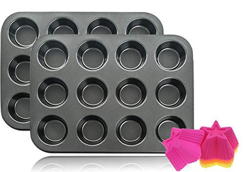 mixed24 2X 12er Backblech Backform Muffinform für insgesamt 24 Muffins + 24 Muffinförmchen GRATIS
