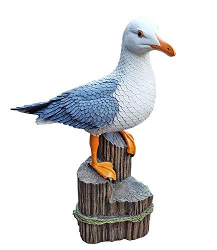 Fachhandel Plus Deko-Figur Möwe auf Polder XL Maritime Gardendeko Holzschnitt-Optik Tierfigur