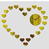 YHZY Amor Romántico Reloj De Pared De Acrílico Espejo Moderno Relojes De Cristal 3D Sala De Estar-Oro