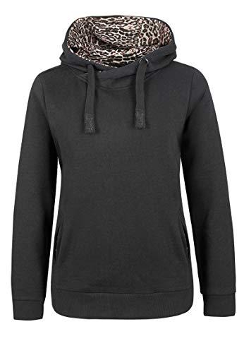 Sublevel Damen Hoodie mit Leo-Muster Kapuzen-Print Black XL