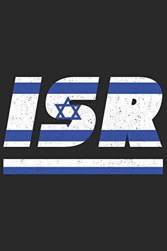 ISR: Israel Notizbuch mit blanken 120 Seiten in weiß. Notizheft mit der israelischen Flagge