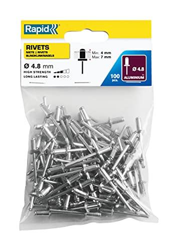 Rapid Blindnieten ALU Standard Ø 4,8mm, 4-7mm Klemmbereich, 100 Stk. Nieten, für blindnietzangen