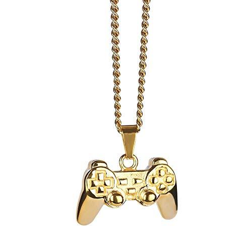 Ximao Kreativer Hip-Hop-Spielkonsolen-Anhänger mit Griff, Retro-Design, Titanstahl, Halskette für Damen und Herren, Paare mit Zubehör, Goldene Halskette (Kettenlänge ca. 60 cm seitliche Kette)