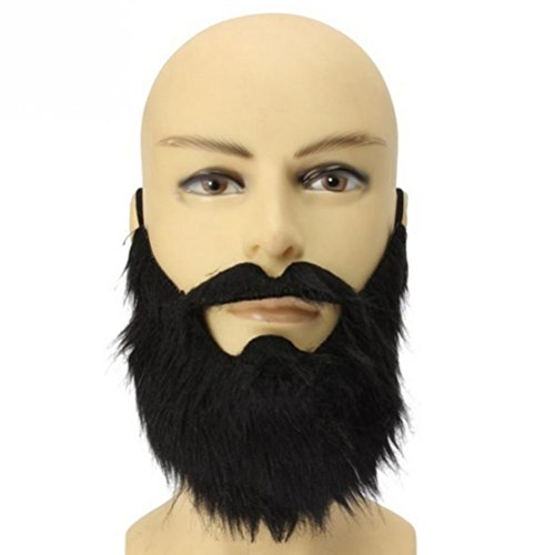 LUOEM Fake Beard Black Bearded Man Funny Mustache Costume Party Fake Mustaches Whisker Festival Supplies