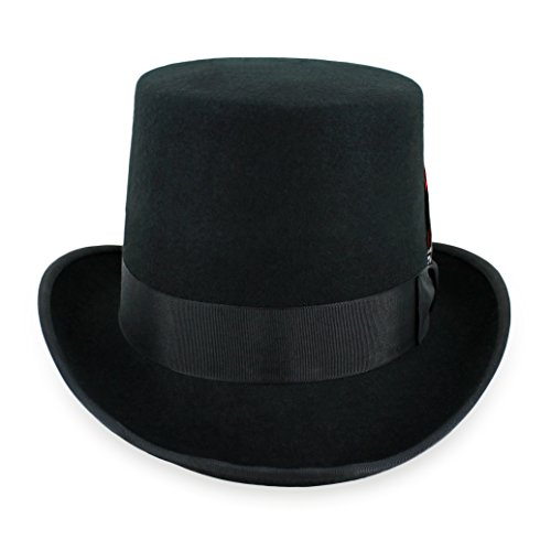 Belfry Topper 100% Wool Satin Lined Men's Top Hat in Black Available in 4 Sizes Medium Black